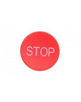 Soczewka przycisku 22mm płaska czerwona z symbolem STOP M22-XD-R-GB0 218194