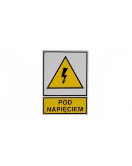 Tabliczka /znak ostrzegawczy/ TZO 74X105S /POD NAPIĘCIEM/ E04TZ-01011120800 /10szt./