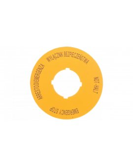 Tabliczka opisowa żółta okrągła EMERGENCY STOP (4 języki) M22-XBK15 167638