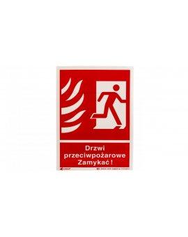 Tabliczka ostrzegawcza /Drzwi przeciwpożarowe zamykać 150x205/ 30P/F1/FS
