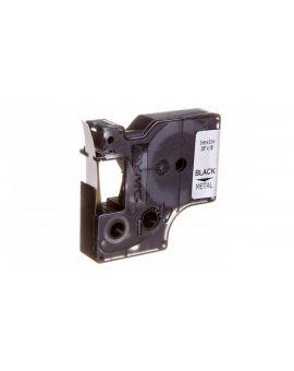Taśma poliestrowa do drukarek trwała 9mm x 5, 5m czarna na metalicznym S0718170 18485