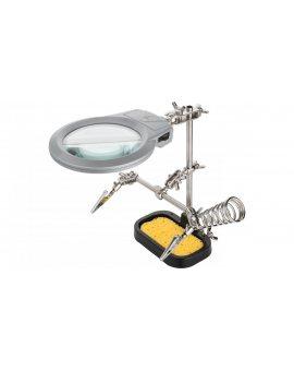 Zestaw trzecia ręka do lutowania 2 uchwyty + lupa z lampą LED 51226