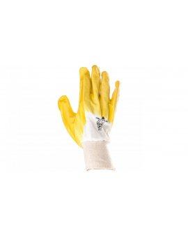 Rękawice z lekkiego Nitrylu na wkładzie z dżerseju, góra wentylowana biało-żółte rozmiar 11 NI01511