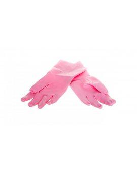 Rękawice gospodarcze z lateksu flokowane różowe rozmiar 7, 5 ZEPHIR 210 VE210RO07