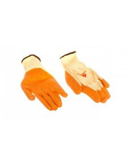 Rękawice dziane z poliestru i bawełny, dłoń i końce palców powlekane Lateksem, ścieg 10 żółto-pomarańczowe rozmiar 8 VE730OR08