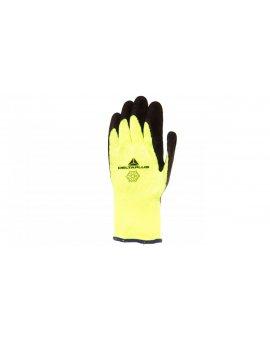 Rękawice dziane z akrylu, dłoń powlekana pianką lateksową, ścieg 10 10 żółte fluo-czarne VV735JA10