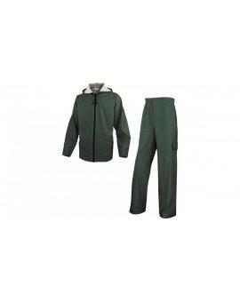 Komplet przeciwdeszczowy bluza + spodnie z poliestru powlekanego semi-poliuretanemkolor zielony rozmiar M CORPEN850VETM