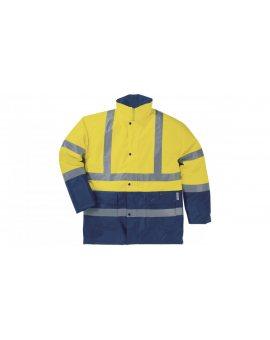 Kurtka ostrzegawcza z poliestru Oxford powlekanego PU i PVC kolor żółty fluo-granatowy rozmiar M CORP STRA2JATM