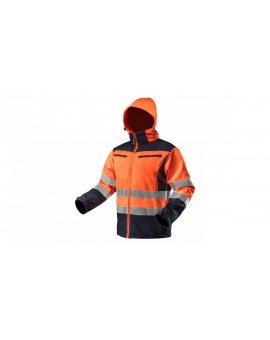 Kurtka robocza ostrzegawcza softshell z kapturem, pomarańczowa, rozmiar M 81-701-M
