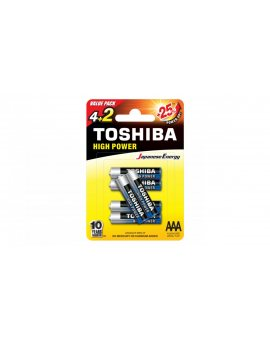 Bateria alkaliczna LR03 / AAA 1, 5V HIGH POWER LR03GCNP BP6 2F /blister 4+2szt./