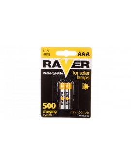 Akumulator Ni-MH LR03 / AAA 400mAh RAVER SOLAR /blister 2szt/ B7414