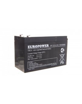 Akumulator bezobsługowy AGM 7, 2Ah 12V Europower EP 7, 2-12