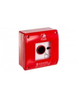 Ręczny ostrzegacz przeciwpożarowy natynkowy, styk 1Z+LED 230V AC OP1-W01-B\10-230