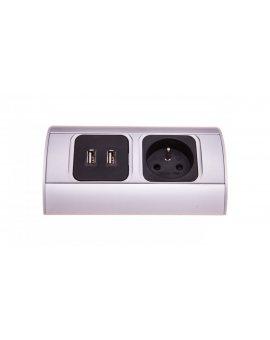 Gniazdo meblowe pojedyncze z/u 16A + 2xUSB IP20 aluminium/ tworzywo OR-AE-1310