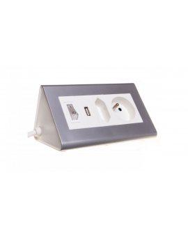 Przedłużacz biurkowy z wyłącznikiem 1x2, 5A + 1x16A + USB 5V DC/2, 1A OR-AE-1328