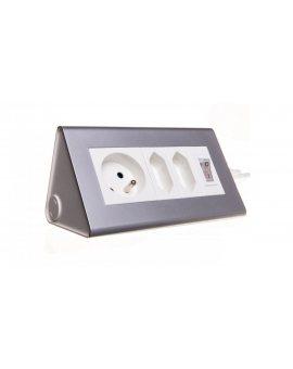Przedłużacz biurkowy z wyłącznikiem 2x2, 5A 1x16A OR-AE-1327