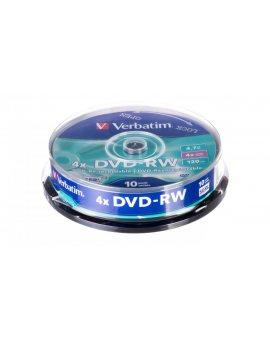 Płyta DVD-RW VERBATIM 4, 7GB x4 MATT SILVER /CAKE 10szt./