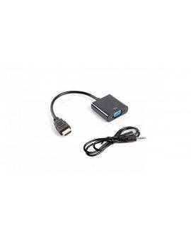 Adapter HDMI - VGA+ jack 3, 5mm stereo 0, 2m AD-0017-BK