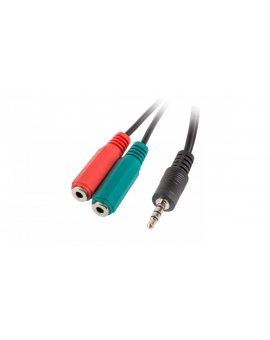 Adapter mini JACK stereo 4-pin (M) - mini JACK (F) x2 (słuchawki i mikrofon) 20cm AD-0023-BK