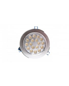 Oprawa downlight LED 18W 230V IP20 srebny okrągly 1260lm 3000K 230V LAMPRIX LP-11-016