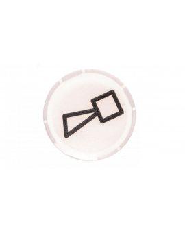 Soczewka przycisku 22mm płaska biała z symbolem BUCZEK M22-XDL-W-X17 218315