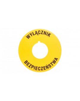 Tabliczka opisowa żółta okrągła fi60 EMERGENCY STOP 8LM2TAU122