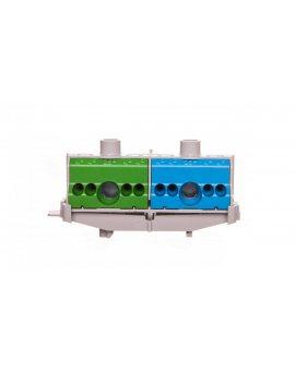 Listwa zaciskowa PE i N na szynę 80A 2x(1x25mm + 4x4mm2) niebiesko-zielona FC PN 10 26001206